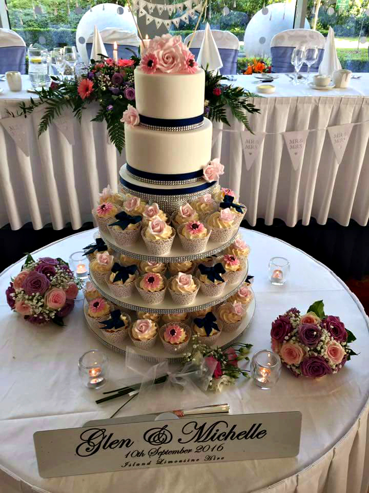 WC70 Pink & Navy Wedding Cake & Cupcake Tower