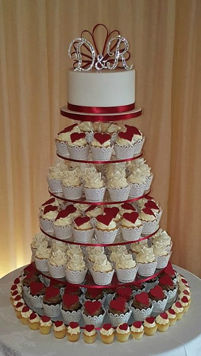 Red Hearts Wedding Cupcake Tower WC105