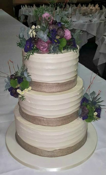 Rustic Flowers Wedding Cake WC107