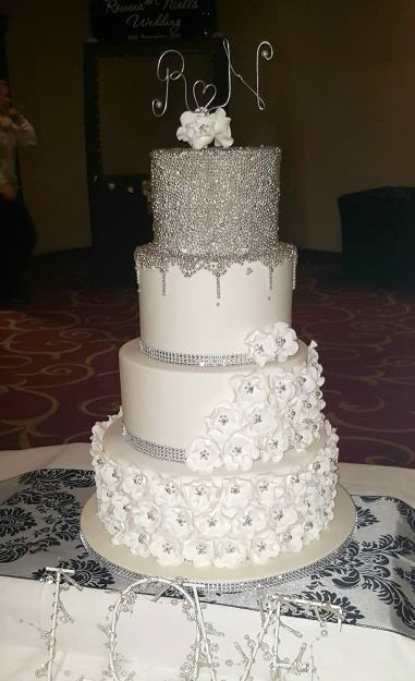 Silver Drip Wedding Cake WC103
