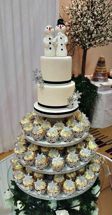 Snow Couple Wedding Cupcake Tower WC108