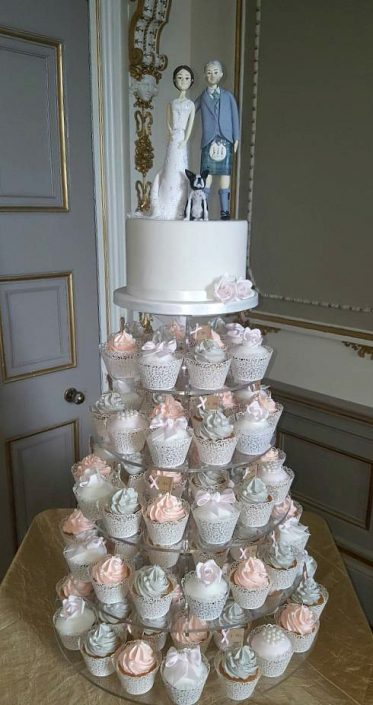 WC131 Cute Couple Novelty Wedding Cupcake Tower