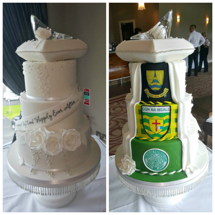 WC135 Novelty Football Glass Slipper Wedding Cake