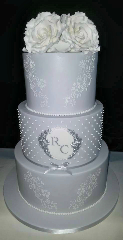 WC147 Elegant Grey Wedding Cake