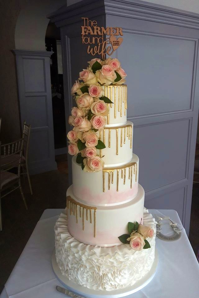Gold and Pink Wedding Cake WC177