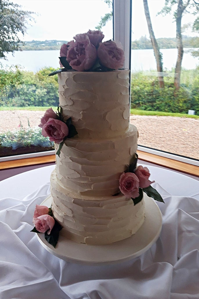 Pink Flowers Wedding Cake WC153