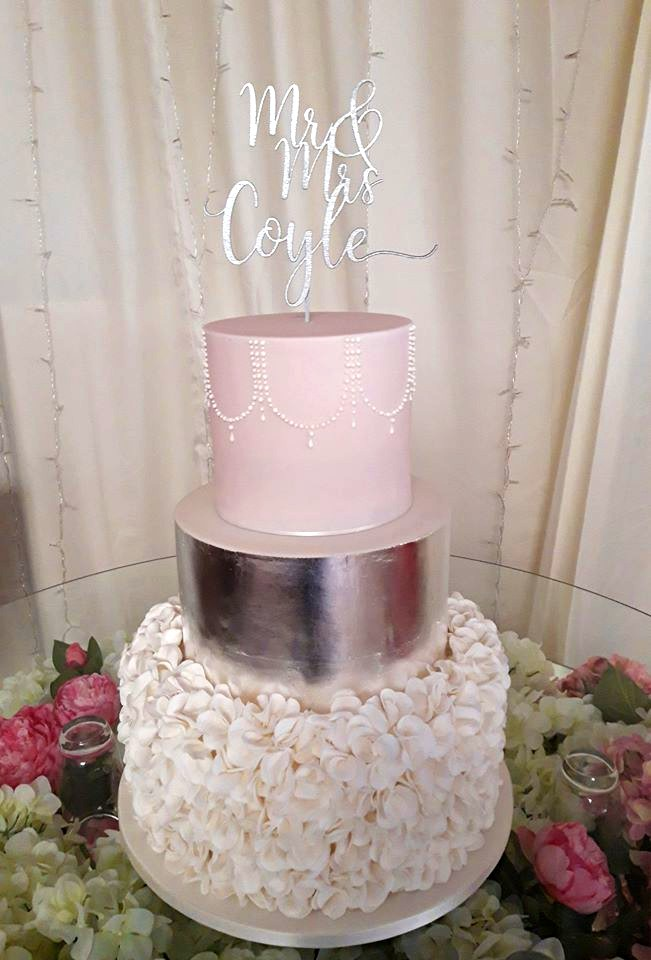 Pink & Silver Petals Mr & Mrs Wedding Cake WC179