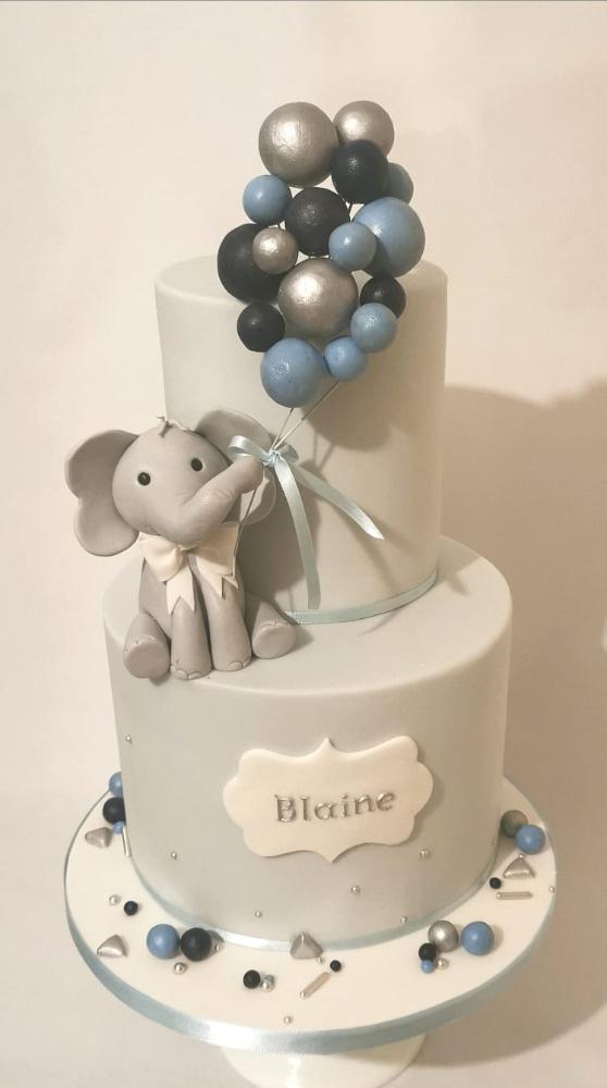 Elephant and Balloons Christening Cake