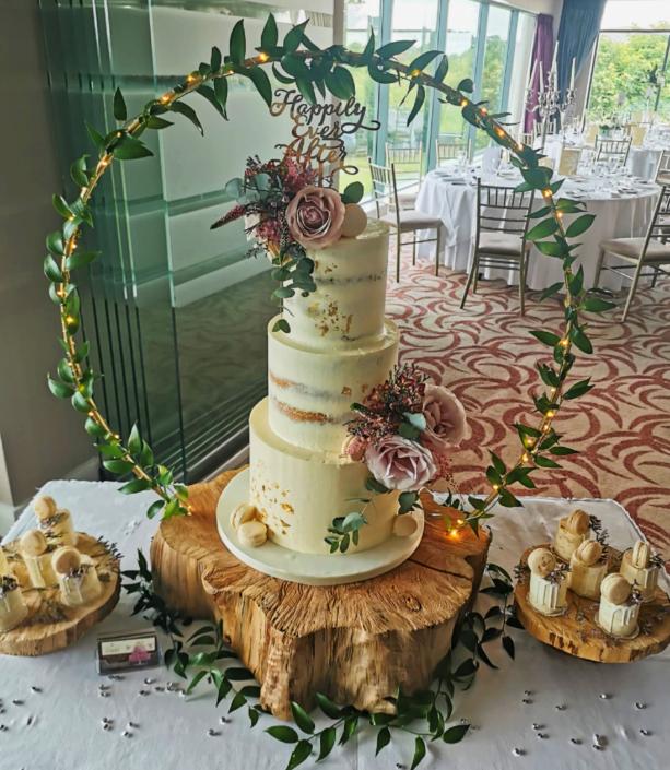 Fabulously Rustic Semi Naked Wedding Cake