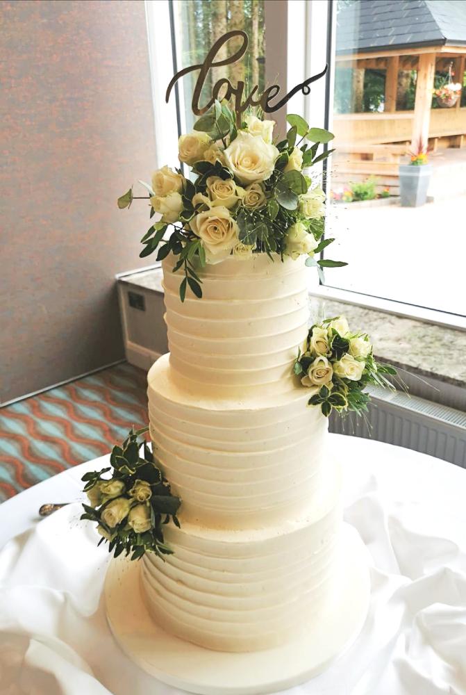 Love Floral Wedding Cake