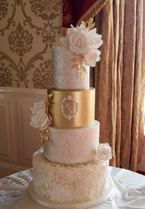 Magnificent Glitter and Gold Wedding Cake