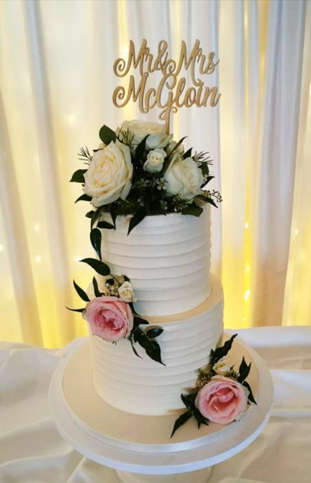 Pretty Mr & Mrs Ridged Icing Wedding Cake