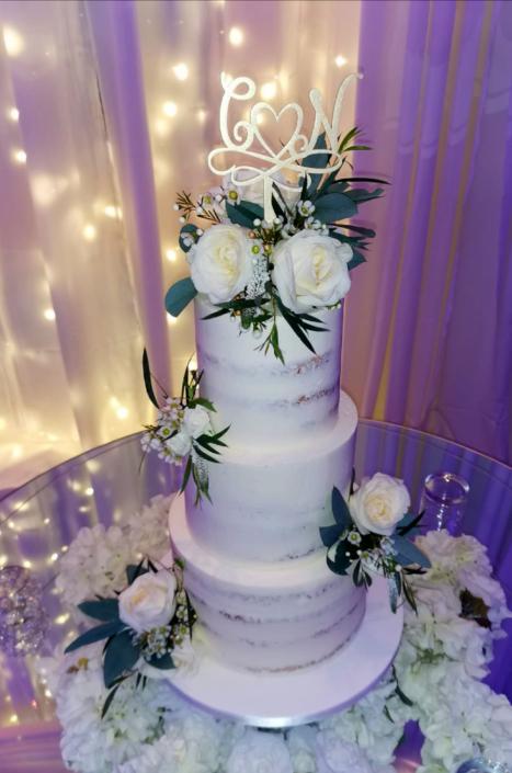 Splendid Flowers Semi Naked Wedding Cake