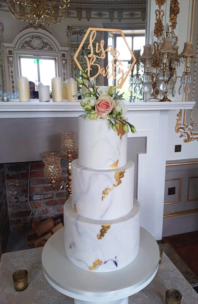 Wonderful Rose Marble Gold Leaf Wedding Cake